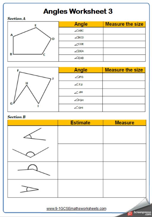Estimating Angles Worksheet 2