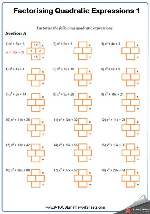 Factorising Quadratics Worksheet 1