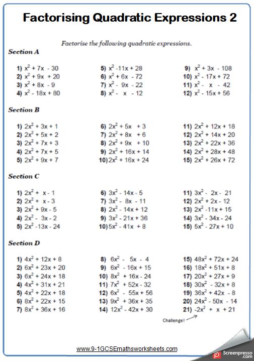 Factorising Quadratics Worksheet 2
