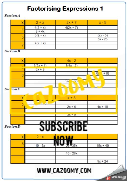 Factorising Worksheet 1