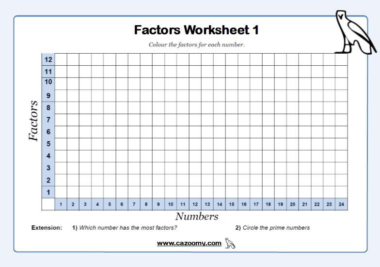 Factors Worksheet 1