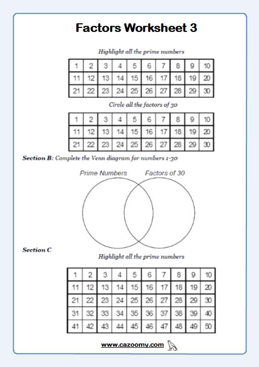 Factors Worksheet 3