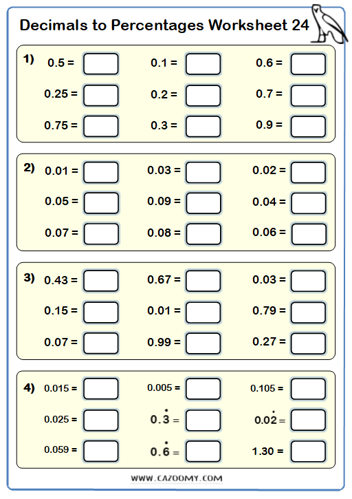 Percentages to Decimals Worksheet 2
