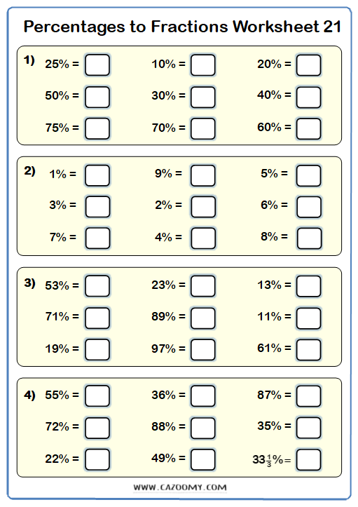 Percentages to Fractions Worksheet 2