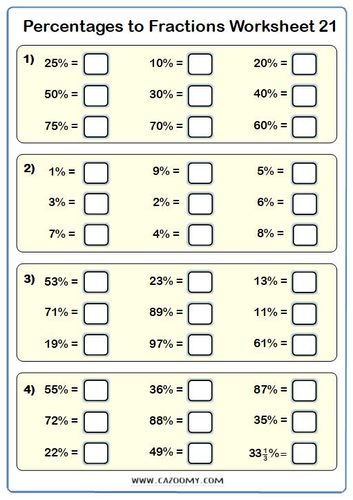 Percentages to Fractions Worksheet 2