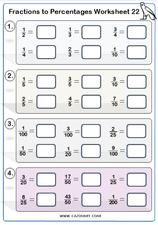 Percentages to Fractions Worksheet 3