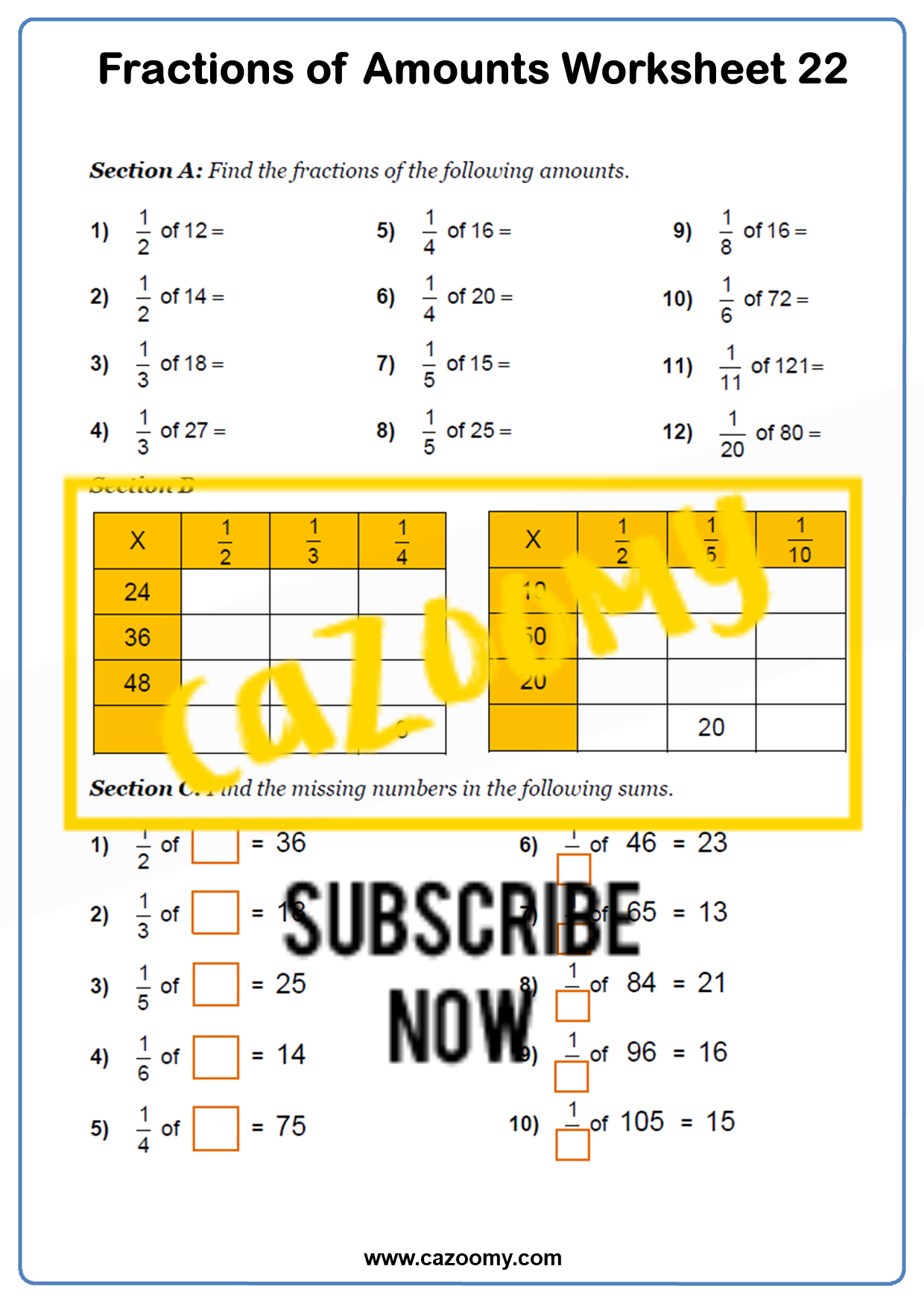 Fractions of Amounts Worksheet 1