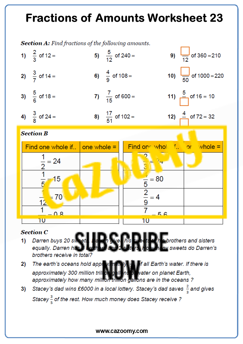 Fractions of Amounts Worksheet 2
