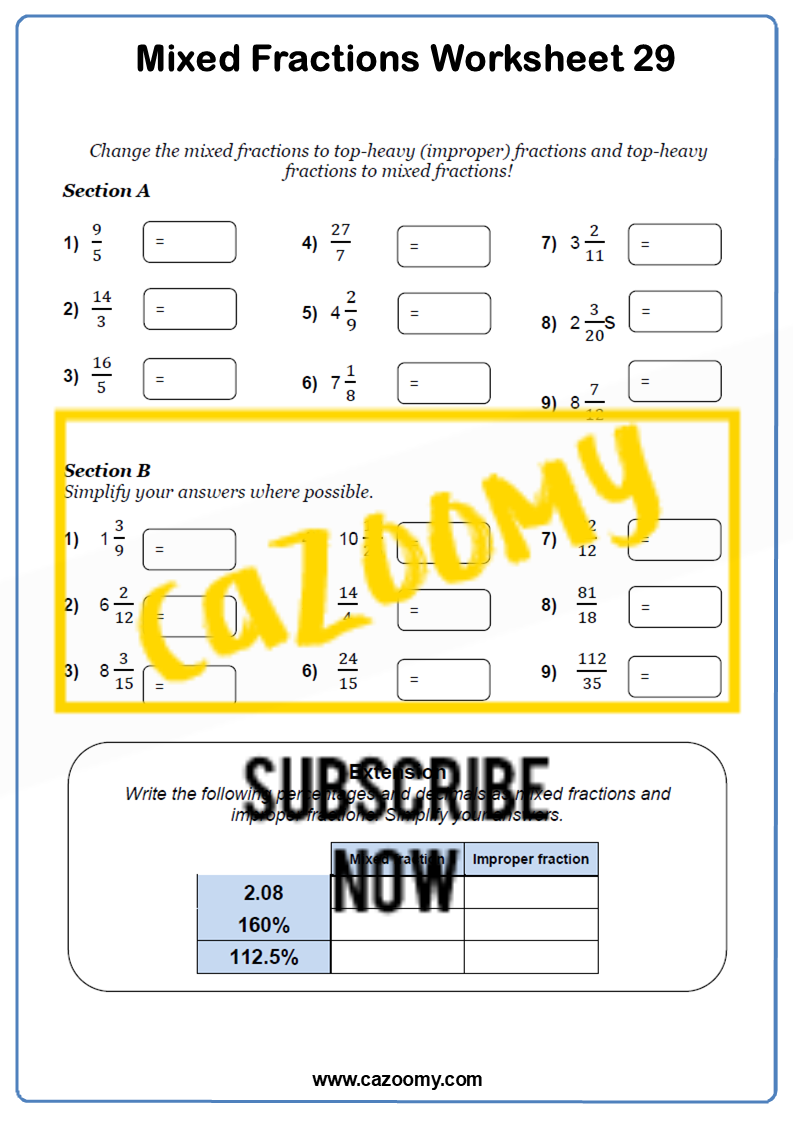 Mixed Fractions Worksheet 2