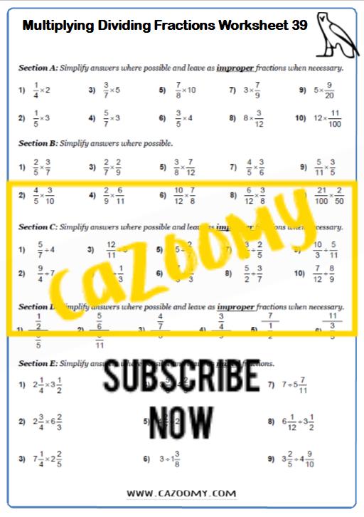 Multiplying Dividing Fractions Worksheet 1