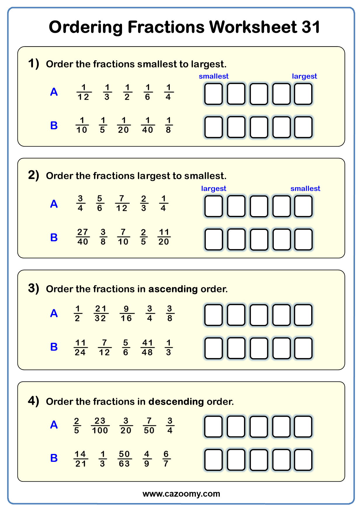 Ordering Fractions Worksheet 1