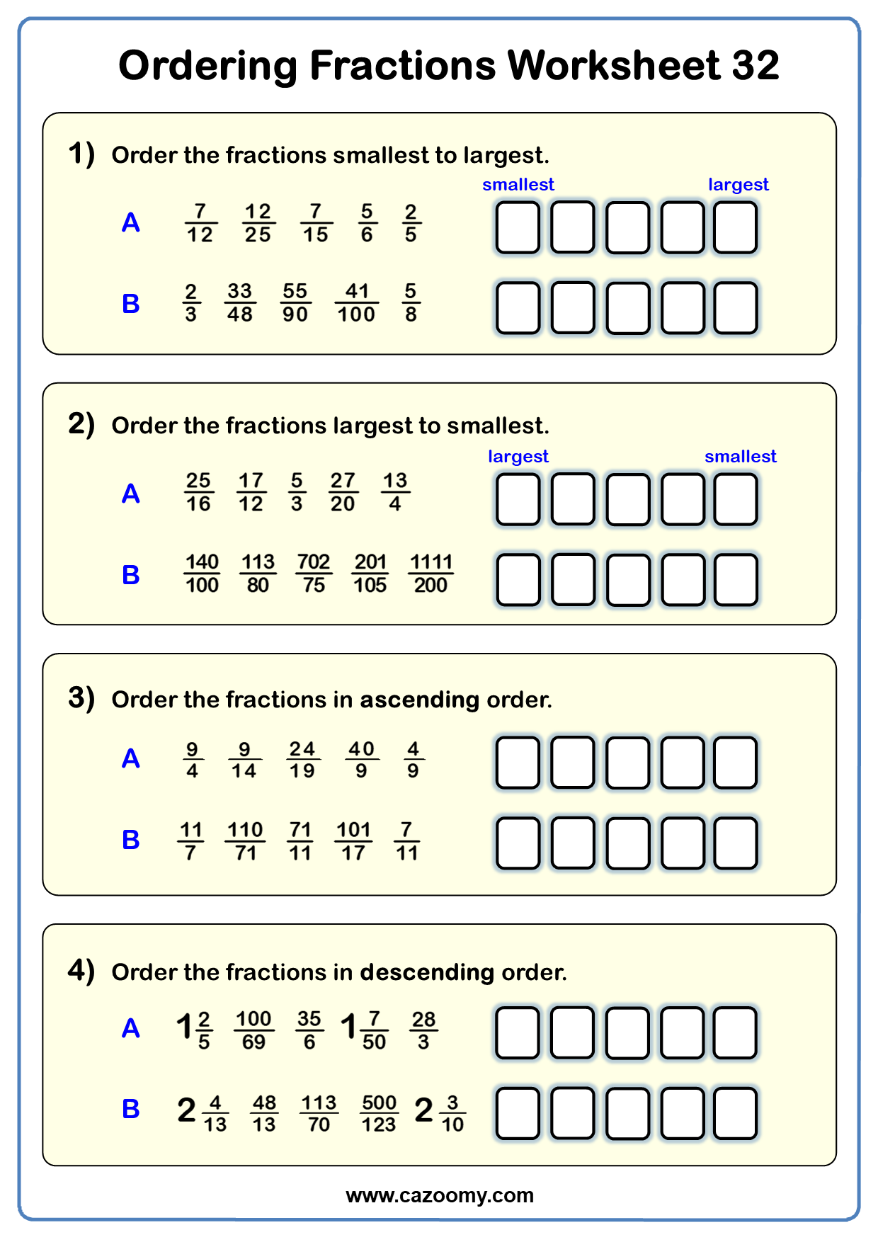 Ordering Fractions Worksheet 2
