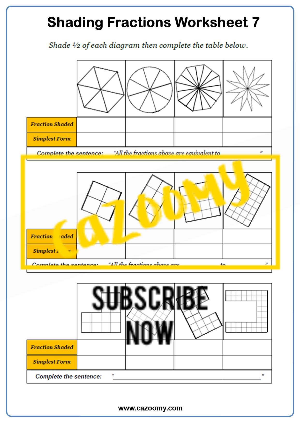 Shading Fractions Worksheet 1