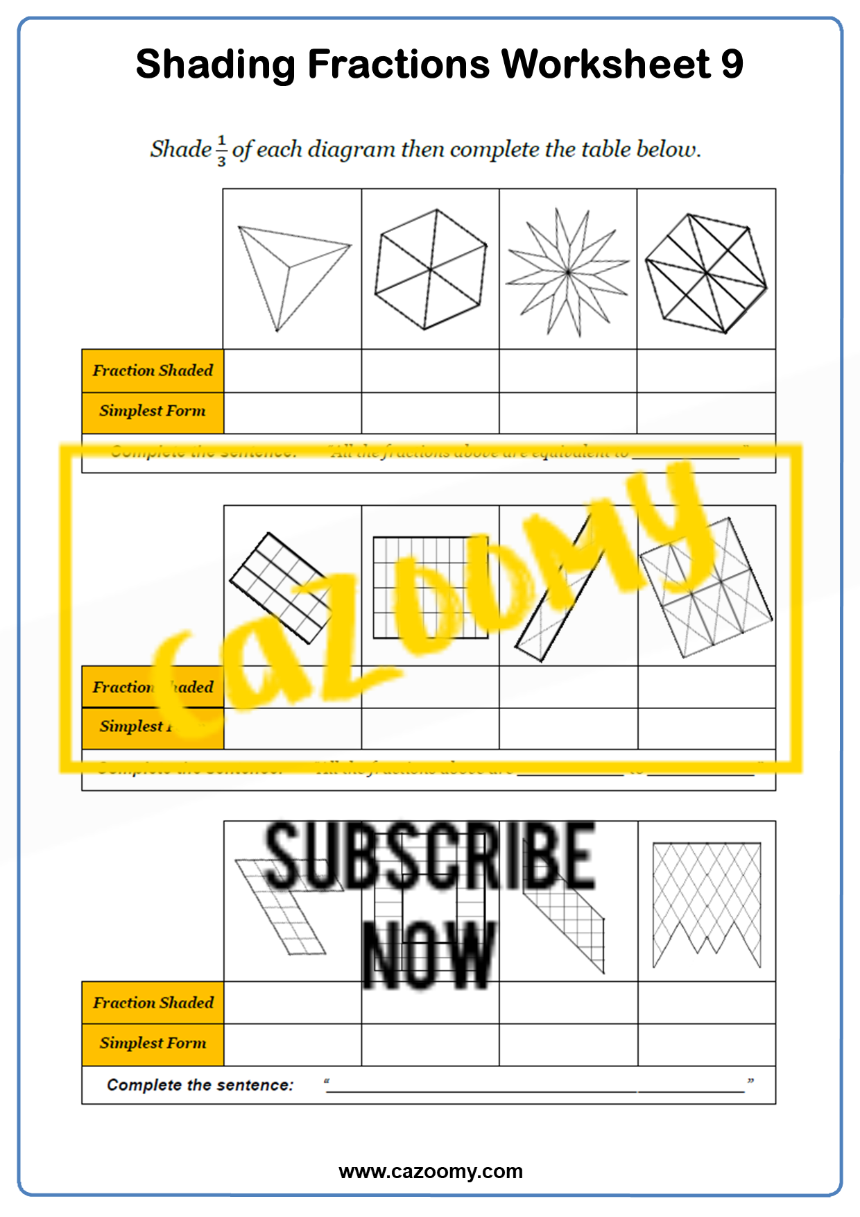 Shading Fractions Worksheet 3