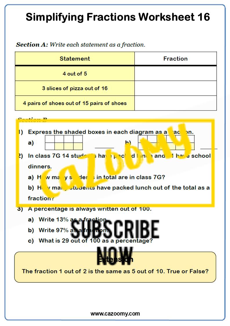 Simplifying Fractions Worksheet 1