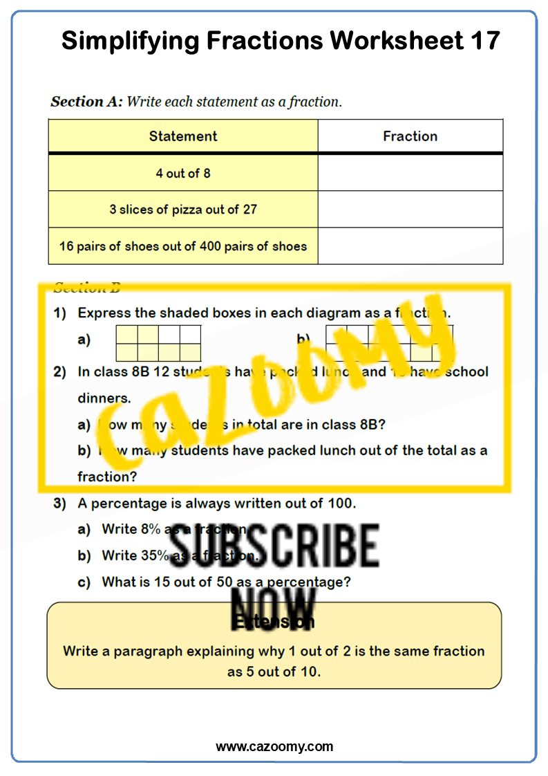 Simplifying Fractions Worksheet 2