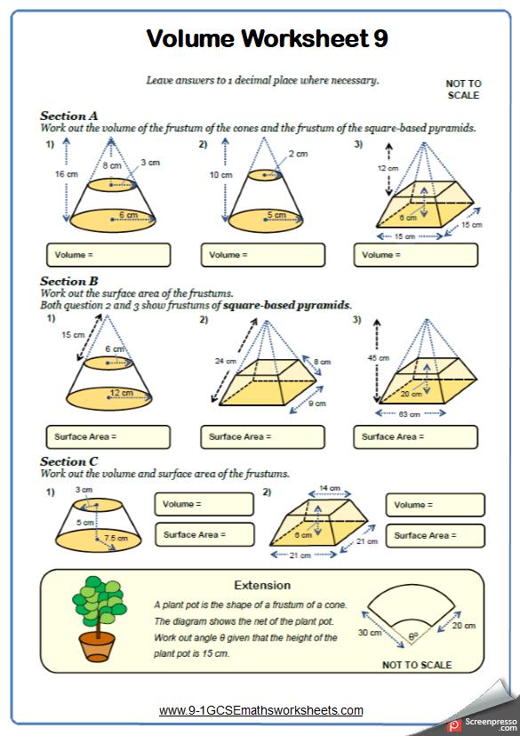 Frustums Worksheet 1