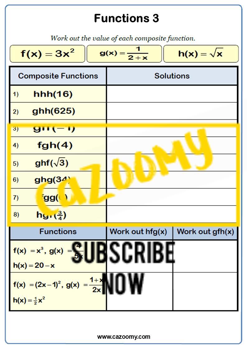 Functions Worksheet 3