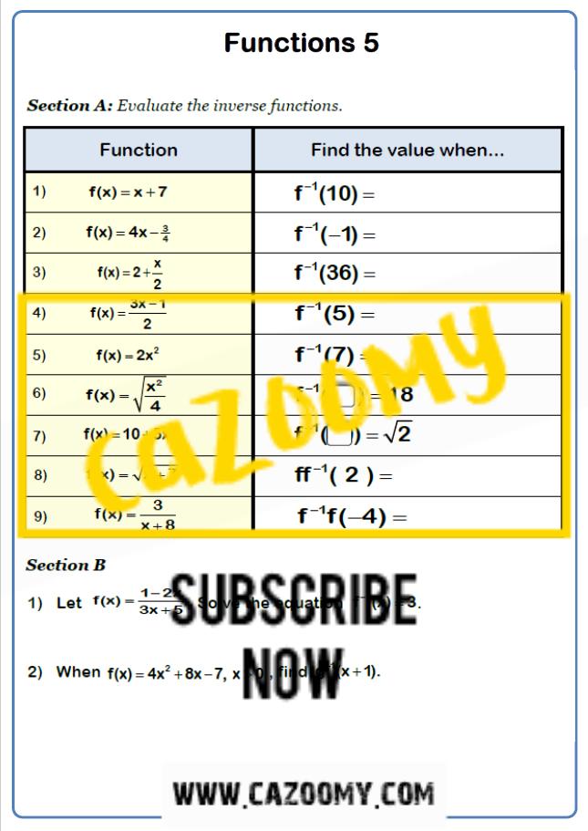 Functions Worksheet 5