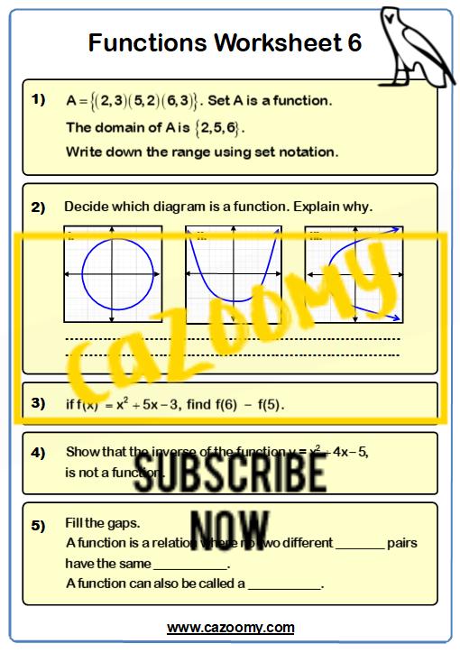 Functions Worksheet 6