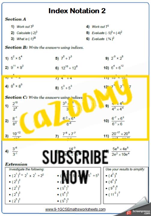 Index Notation Worksheet 2