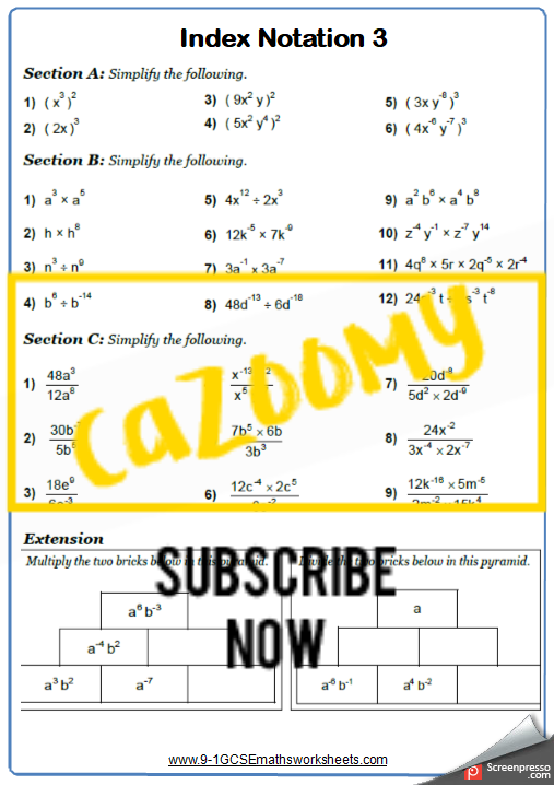 Index Notation Worksheet 3