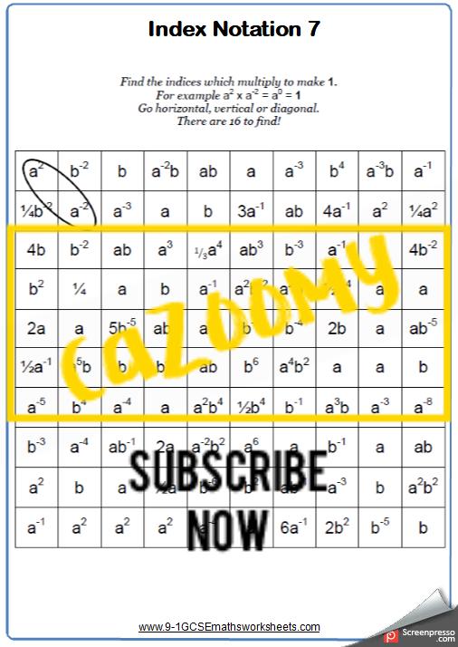 Index Notation Worksheet 7