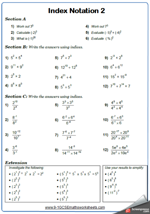 Indices Worksheet 2