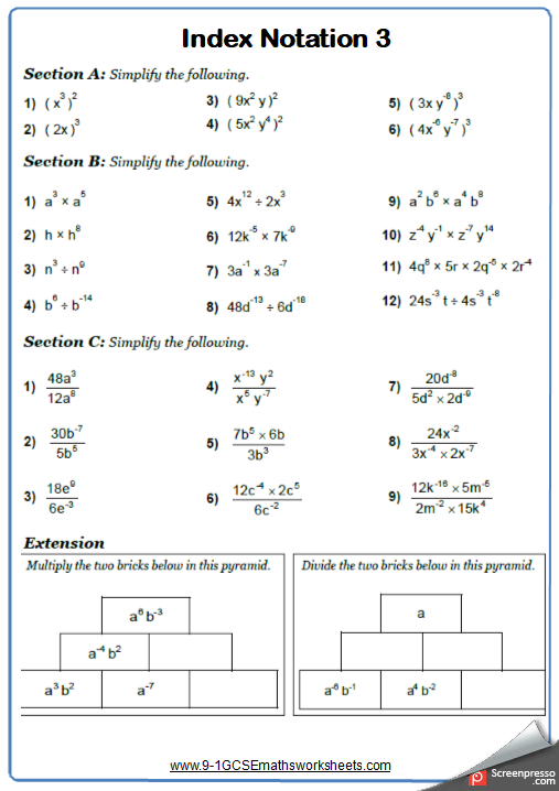 Indices Worksheet 3