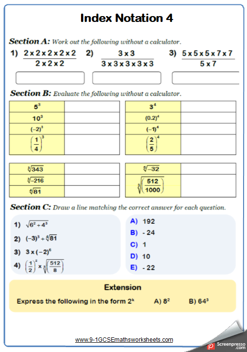 Indices Worksheet 4