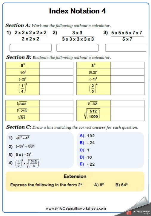 Indices Worksheet 4