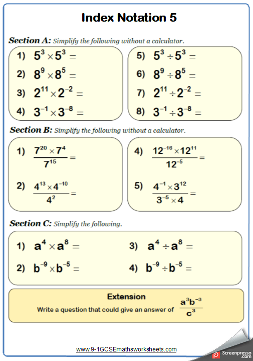 Indices Worksheet 5