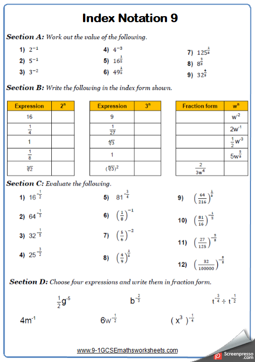 Indices Worksheet 9