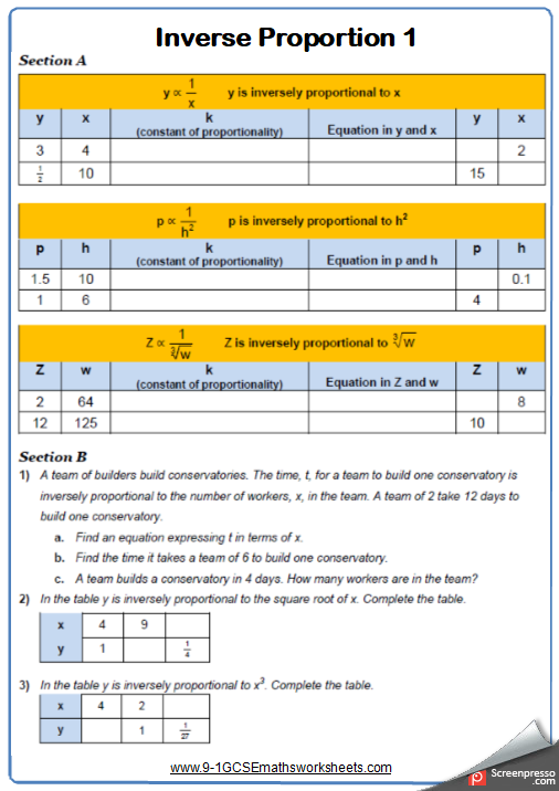 Inverse Proportion Worksheet 1