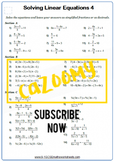 Linear Equations Worksheet 6