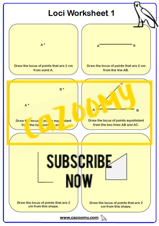 Loci Maths Worksheet 1