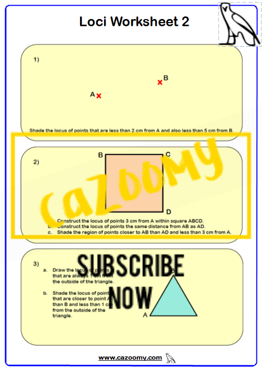 Loci Maths Worksheet 2