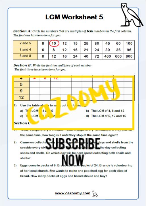 Lowest Common Multiple Worksheet 2