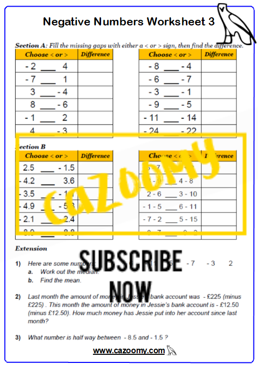 Negative Numbers Worksheet 3