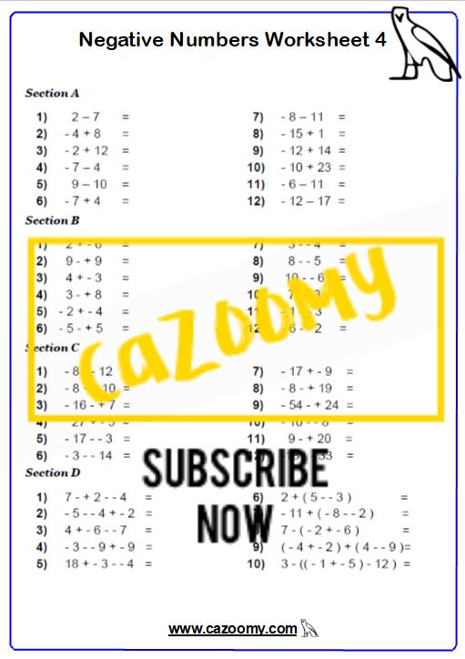 Negative Numbers Worksheet 4
