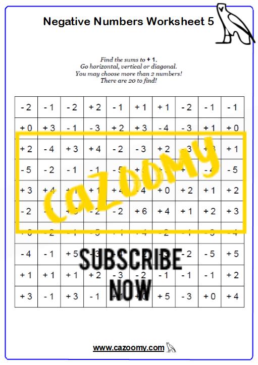 Negative Numbers Worksheet 5