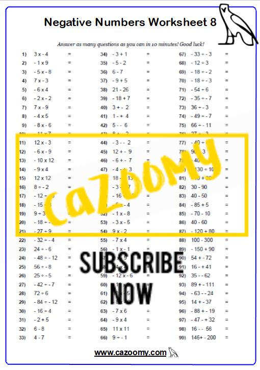 Negative Numbers Worksheet 8