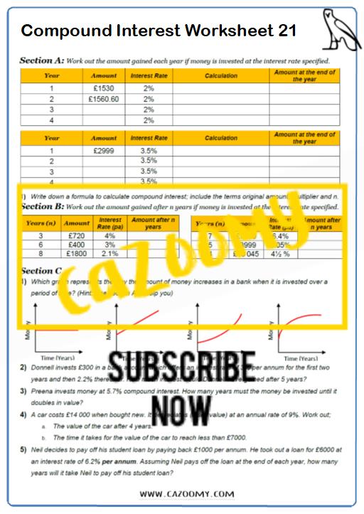 Compound Interest Worksheet 3