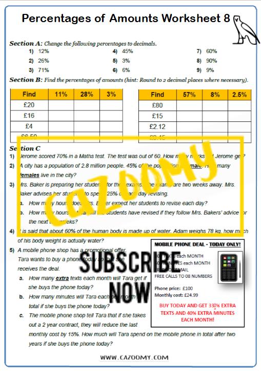 Percentages of Amounts Worksheet 8