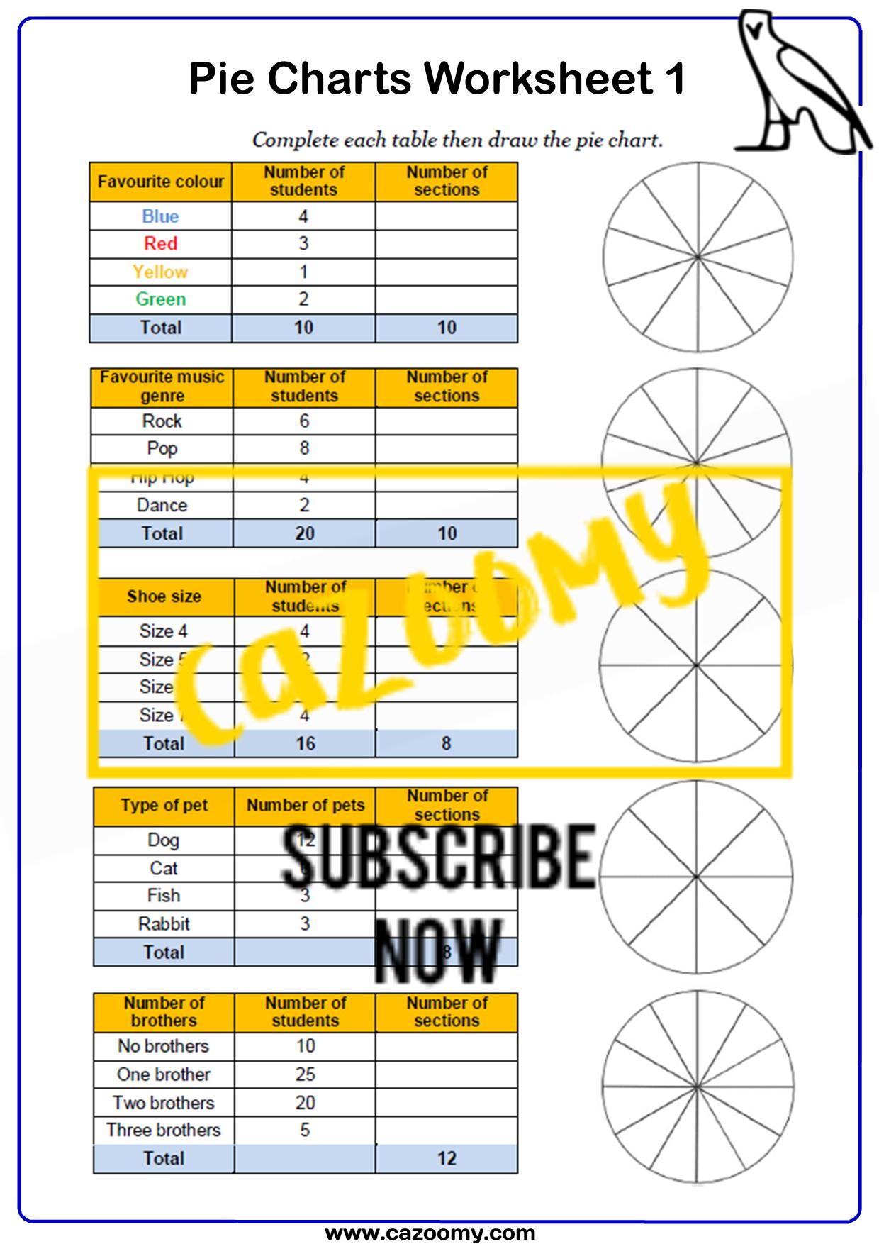 Pie Charts Worksheet 1