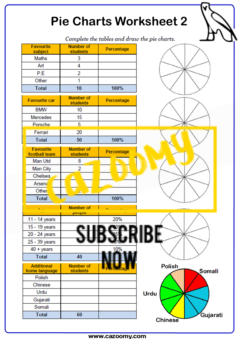 Pie Charts Worksheet 2