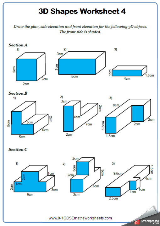Plans and Elevations Worksheet 1