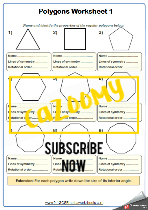 Polygons Worksheet 1