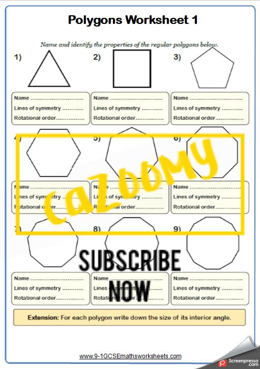 Polygons Worksheet 1