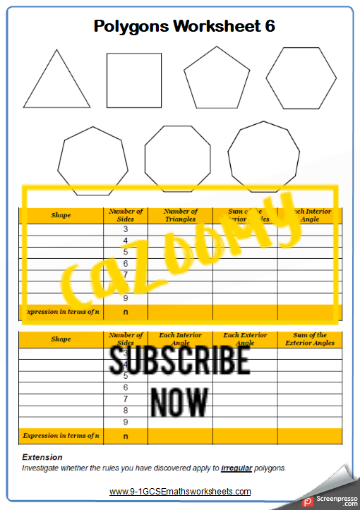 Polygons Worksheet 6